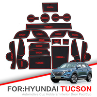 TL ZUNDUO ranhura Portão esteiras Para Hyundai Tucson 2016-2019 Interior Porta Copo Pad Poeira tapetes de Montanha Russa de Água Não-deslizamento vermelho/branco