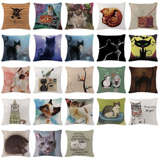 modern art chair covers and linens cheap table set new design pillowcases animal black cat cushions cover large cotton linen home decor sofa colour throw pillow