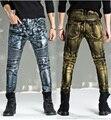 2016 Nuevo de Alta Calidad Bálsamo Recubiertos De Oro Biker Jeans Hip HopMen Metal Punk Style Slim Fit Famosa Marca Homme hombres jeans Ajustados