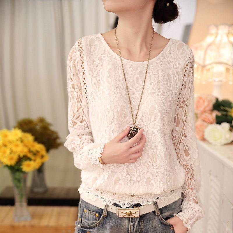 Новая модная летняя женская белая однотонная элегантная повседневная женская шифоновая рубашка с длинным рукавом Блузка кружевная женская одежда Топ 51C - Цвет: 511 WHITE