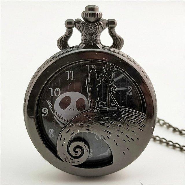 Christmas Night Carved Vintage Antique Round Dial Quartz Pocket Watch Necklace P