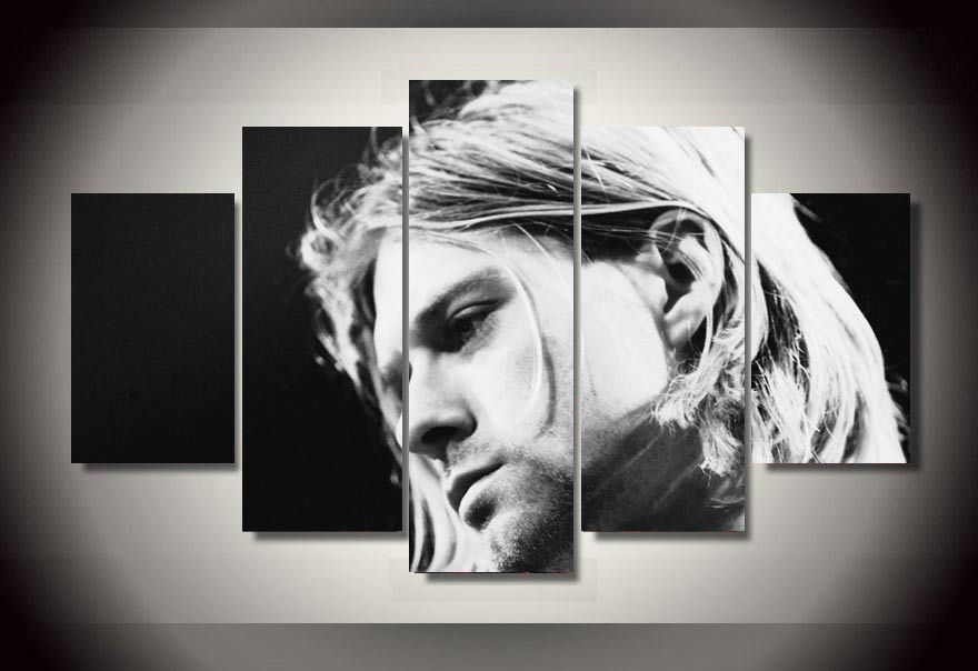 5 Pieces Famous Rock Singer Kurt Cobain Poster Modern Home Wall Decor Canvas Picture Art HD Print Painting On Canvas Artworks