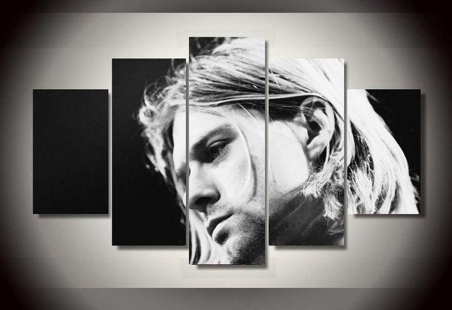 5 pieces terkenal penyanyi rock kurt cobain poster modern home wall decor canvas gambar art hd