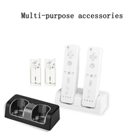 2x 2800mAh Rechargeable Battery Pack With Dual Charger Dock Stand Station For Wii Remote Control Black