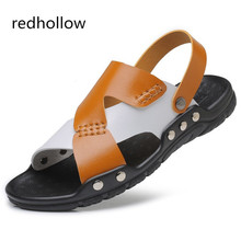 Man Fashion Sandals Summer Men's Slippers Leather Shoes Beach Sandals Casual Soft Men Shoes Flip-Flops Zapatos Big Size 38-47