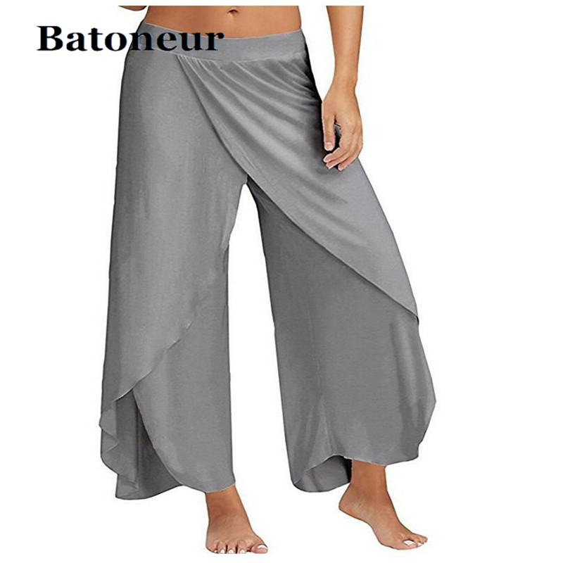Casual Harem Pants Split Women Mid Waist Wide Leg Flowy Pants Summer Plus Size Elastic Sexy Waist High Split Loose Long Trouser