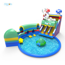 Large Hot Inflatable Water Toys Amusement Park Inflatable Water Slide With Pool For Sale