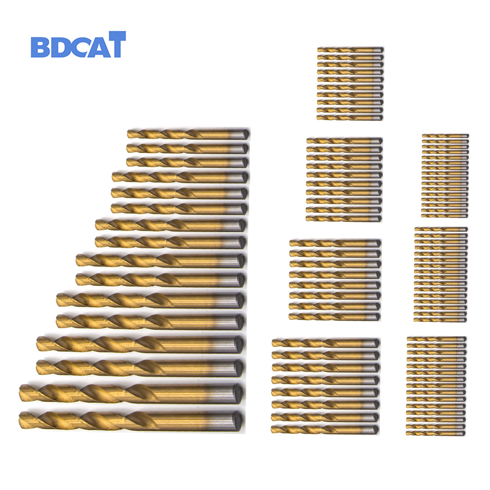 BDCAT 99pcs Titanium HSS Drill Bits Coated 1.5mm - 10mm Stainless Steel HSS High Speed Drill Bit Set For Electrical Drill Tools