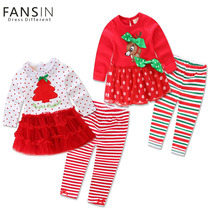 FANSIN Brand 2Pcs Winter Girls Christmas Dress Lace Tutus Embroidered Dress+Stripe Pant Baby Girl Clothes Set Christmas Costume