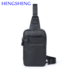 Hengsheng hot selling genuine leather chest bag for fashion men leather chest packs of quality cow leather male chest bags