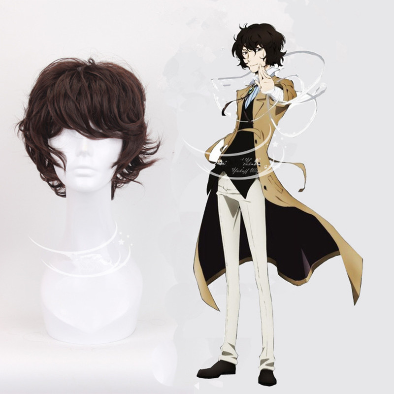 Bungo Stray Dog Anime Dazai Osamu Cosplay Wigs Halloween,Party,Stage,Play Deep Brown Short Curly Synthetic Hair + Wig Cap