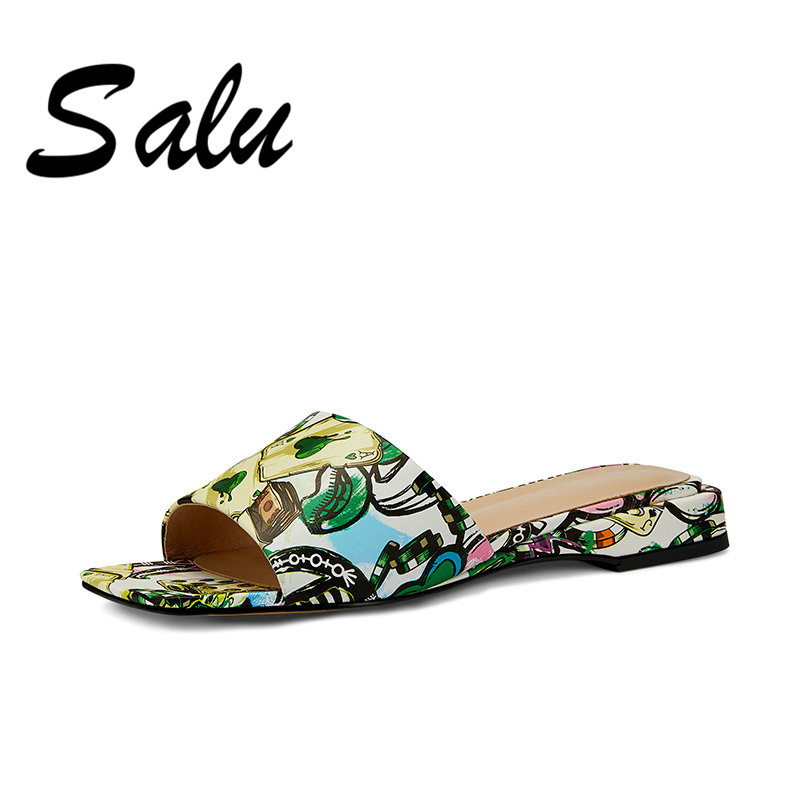 Salu Shoes Woman 2019 Casual Shoes New Women Summer High Quality Square Low Heels Genuine Leather Shoes Woman Sandals Open ToeSalu Shoes Woman 2019 Casual Shoes New Women Summer High Quality Square Low Heels Genuine Leather Shoes Woman Sandals Open Toe