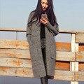Atividades de longos e Grossos Casacos de Lã Mulheres Novo Designer de Moda Plain Gola Outwears Bolsos De Malha de Lã Cardigan