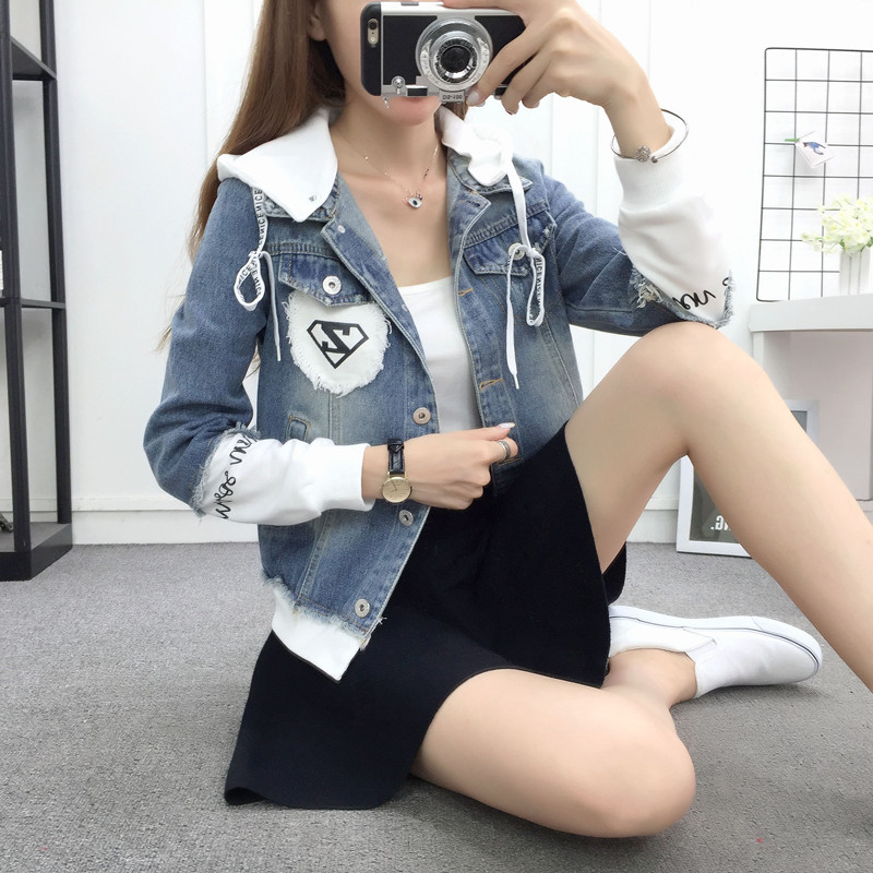 New Autumn Casual Hooded Short Denim Jacket Women Fashion Splicing Patch Coat Plus size Pockets Loose Jackets Jeans Coat Female 38