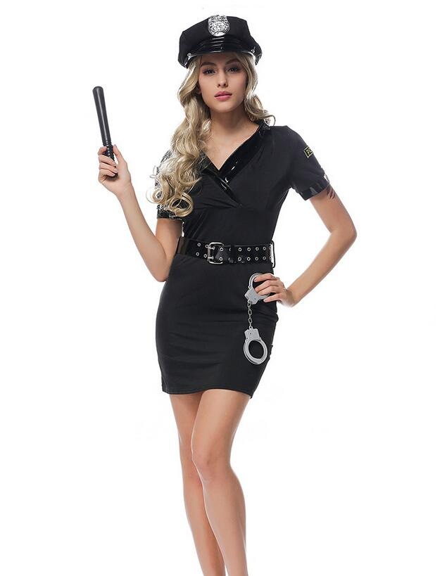 2018 New Sexy Black Police Costume Adult Halloween Costumes for women Fantasia Cosplay Games Uniform