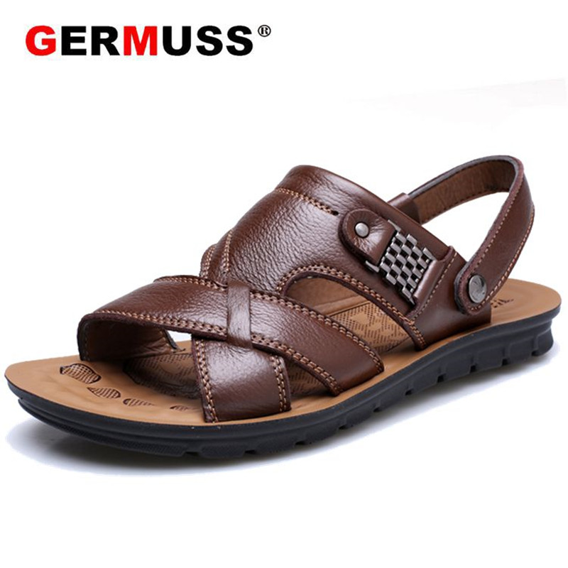 Genuine Leather Sandals Men New Fashion Summer Leisure Beach sandales Mens outdoor Shoes non-slip Massage casual Large Slippers new arrival summer men sandals leisure solid waterproof male outdoors slippers pu leather fashion slip on sandals w1 35