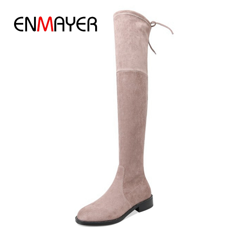 ENMAYER New Fashion women round toe over the knee boots women solid flock boots Big size 34-39 ZYL951ENMAYER New Fashion women round toe over the knee boots women solid flock boots Big size 34-39 ZYL951