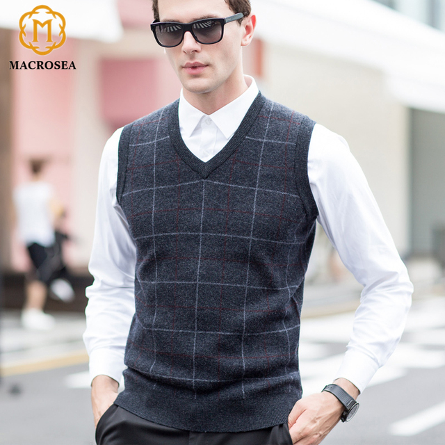 MACROSEA New Fashion Men's Wool Knitting Sweater Vest Male's Plaid ...