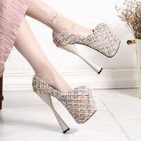 Autumn New 19cm Super High Heel Women Pumps Round Toe Gladiator Shoes For Women Platform Pumps Glitter Wedding Shoes Size 34-43