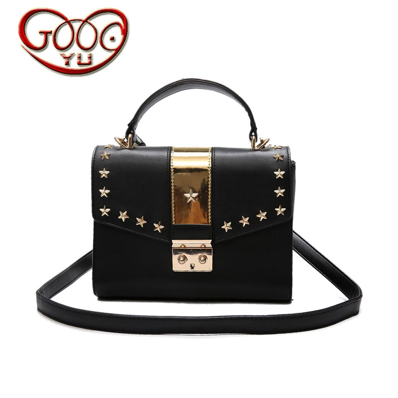 Chao Korean version of the high-end PU leather hit color shoulder bag wild rivets Messenger bag square mini mini buckle handbag 2018 new female korean version of the bag with a small square package side buckle shoulder messenger bag packet tide