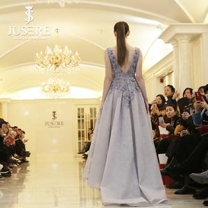 Image 2 - Jusere Hoa Oải Hương Ren Cổ Điển Với Hạt Sexy MỘT Bên dòng Dress Handmade Ren Beading Tím Buổi Tối Ăn Mặc Hajab 2019
