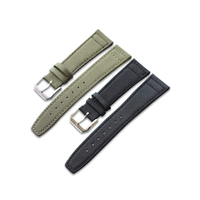 Universal durable high quality 20 21 22mm Green Black Nylon Fabric Leather Band Wrist Watch Strap Belt Clasp For Tudor IWC Omega