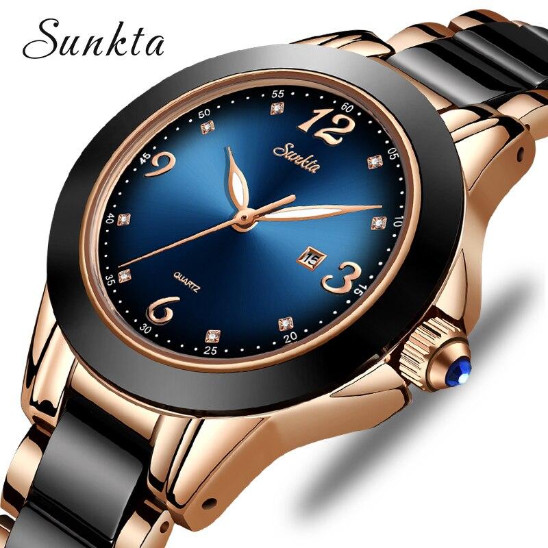 SUNKTA Fashion Women Watches Ladies Top Brand Luxury Ceramic Rhinestone Sport Quartz Watch Women Blue Waterproof Bracelet Watch