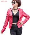 ENJOY PLUS 10%OFF chest 86-102cm new spring 2016 black red pu faux leather jacket short woman big size motorcycle biker S- XXL