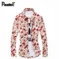 Hombre de manga larga slim fit camisa elegante Mens casual camisa floral algodón social dibujos de flores camisa de ropa de marca