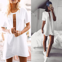 2017 Women Summer Dress Sexy Deep V Chest Hollow out White Short Sleeve Low-Cut Party Dress vestidos femininos