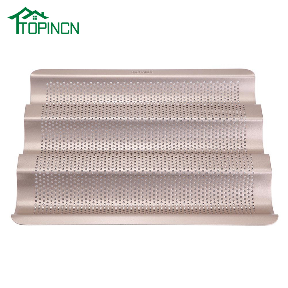 TOPINCN 10/15 Inch Metallic French Bread Pan Baguette Baking Tray Perforated 3-slot Non Stick Bake Loaf Mould
