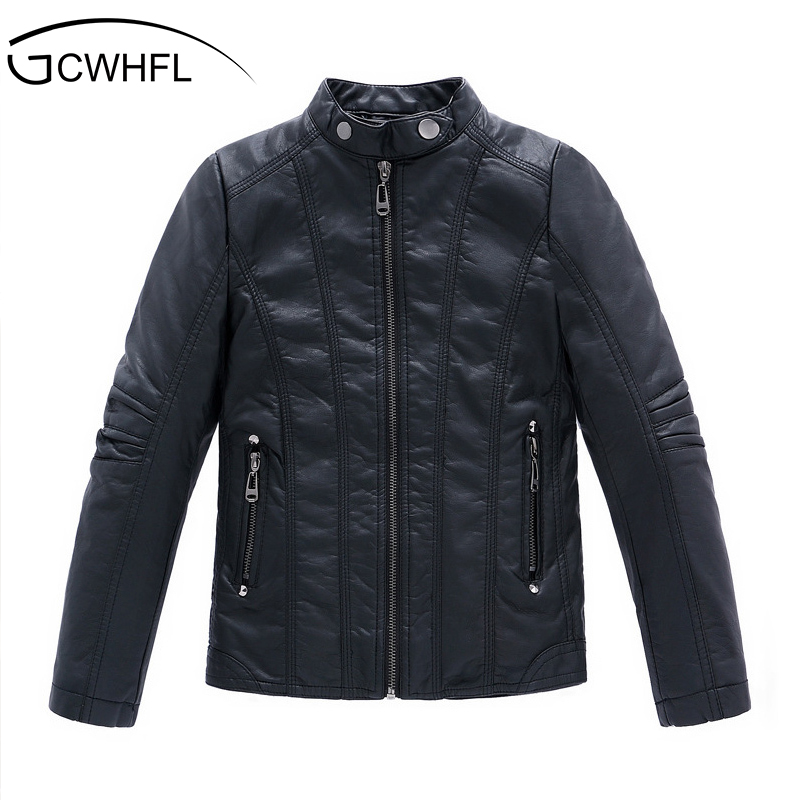 GCWHFL High Quality Jackets Boys Autumn Winter Girls PU Leather Jackets Children 4-16Y Clothing Kids Warm Thick Coat Outerwear spring autumn children girls leather motorcycle jackets pu leather jackets for girls and boys 2 12 years kids outerwear