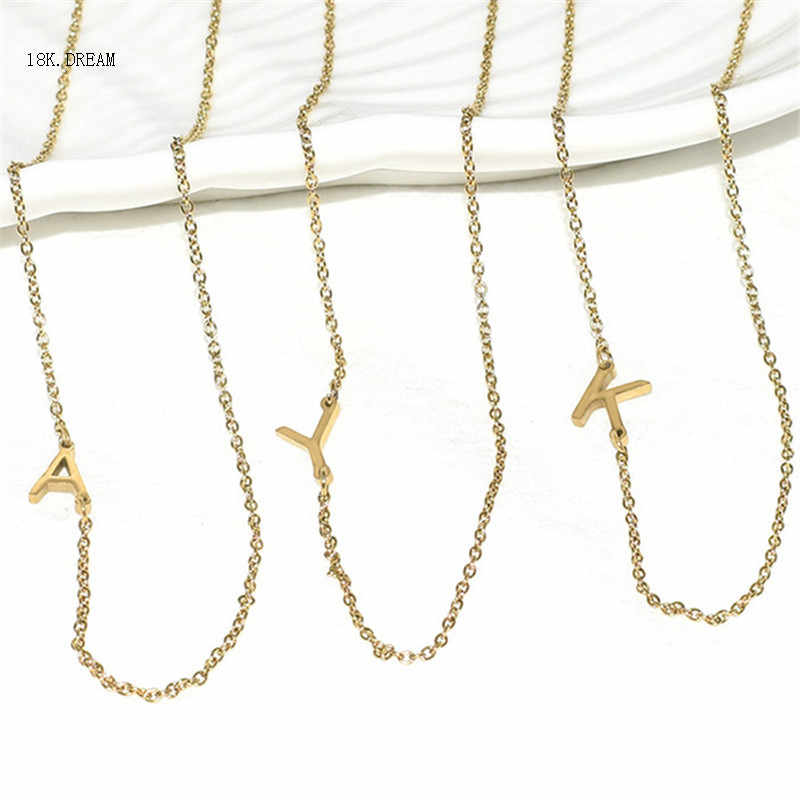 tiny gold sideways stainless steel initial letter necklace personalized silver alphabet necklace for bridesmaid gifts