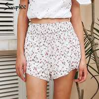 Simplee Sweet floral imprimir pantalones cortos mujeres A línea elástica alta cintura verano shorts 2018 moda chic playa split pantalones cortos