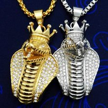 HIP Hop Iced Out Bling Full Rhinestone Stainless Steel Big Cobra Snake Men Pendants Necklaces Gold Color Animal Necklace Jewelry(China)