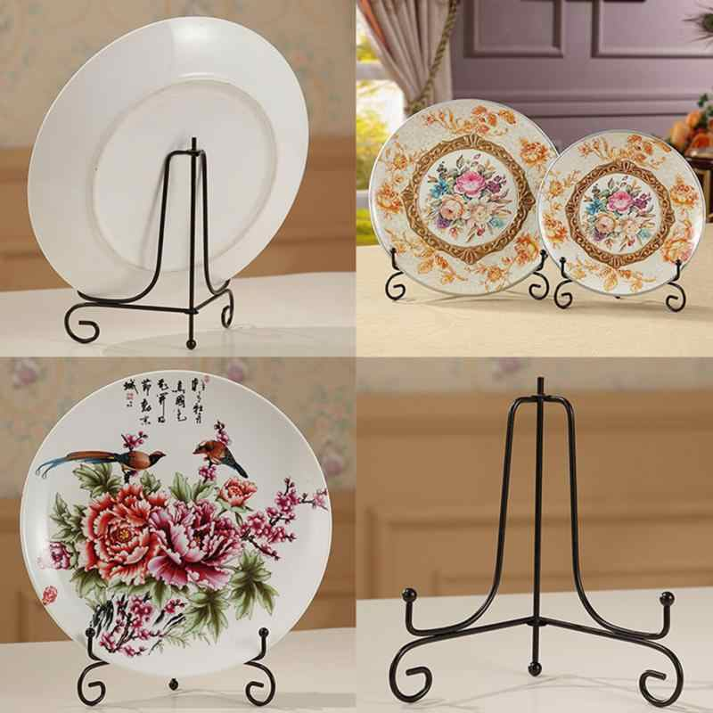 "New Iron Display Stand Dish Rack Plate Bowl Picture Frame Photo Book Pedestal Holder 4 Sizes 4"" 6"" 8"" 10"" 12"" Home Decoration"