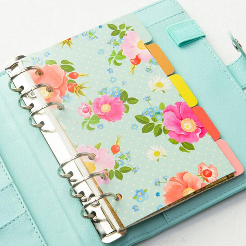 Dokibook A5 A6 Peggy Spiral Notebook Separator frunze libere Pagini Flori 5 coli Separat meci filofax Kikkik