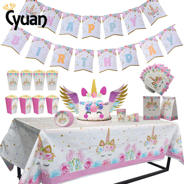 Unicorn Party Supplies Baby Shower Girl Paper Plates Cups Tablecloths Napkins Kids 1st Birthday Table Decorations