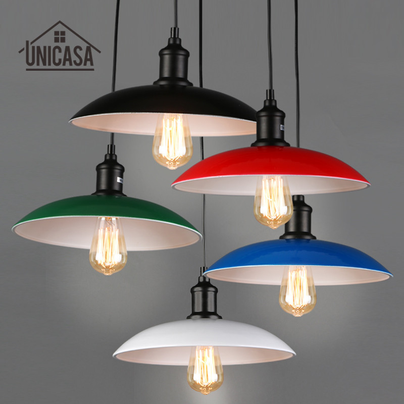 Modern Pendant Lights Colourful Shade Wrought Iron LED Lighting Kitchen Island Office Hotel Antique Mini Pendant Ceiling Lamp glass shade modern pendant lights vintage industrial kitchen island lighting office hotel shop antique led pendant ceiling lamp