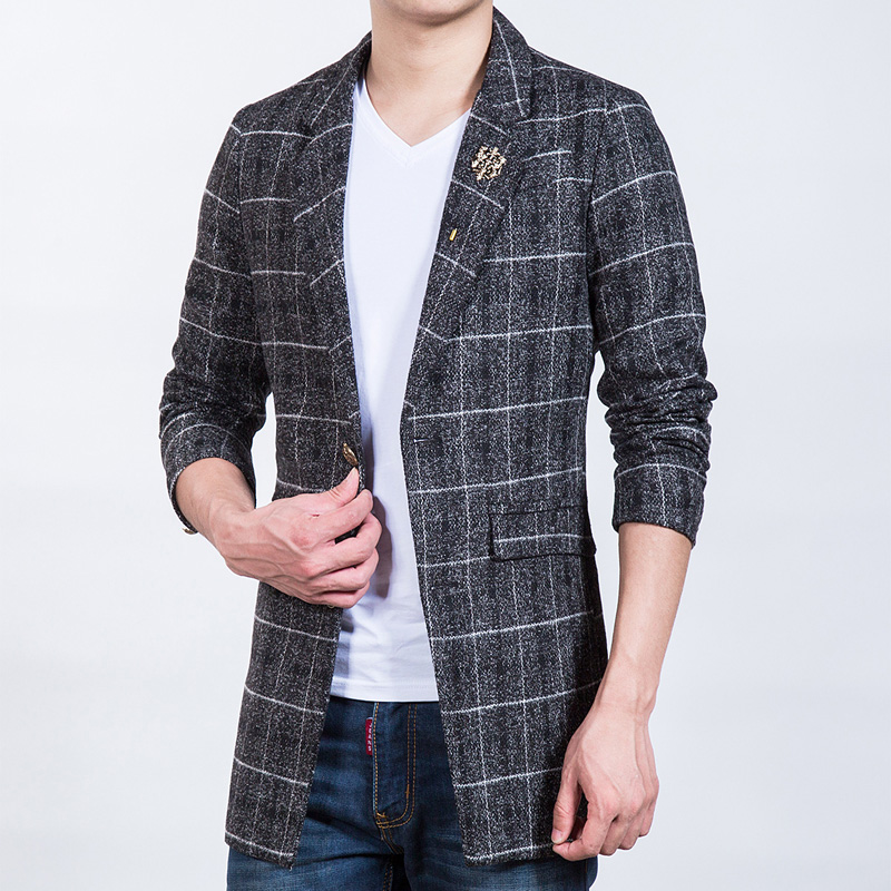 New-Arrival-Casual-Blazer-Plaid-Woolen-Suit-Jacket-Slim-Fit-Brand-Clothing-Long-windbreaker-jacket-Men