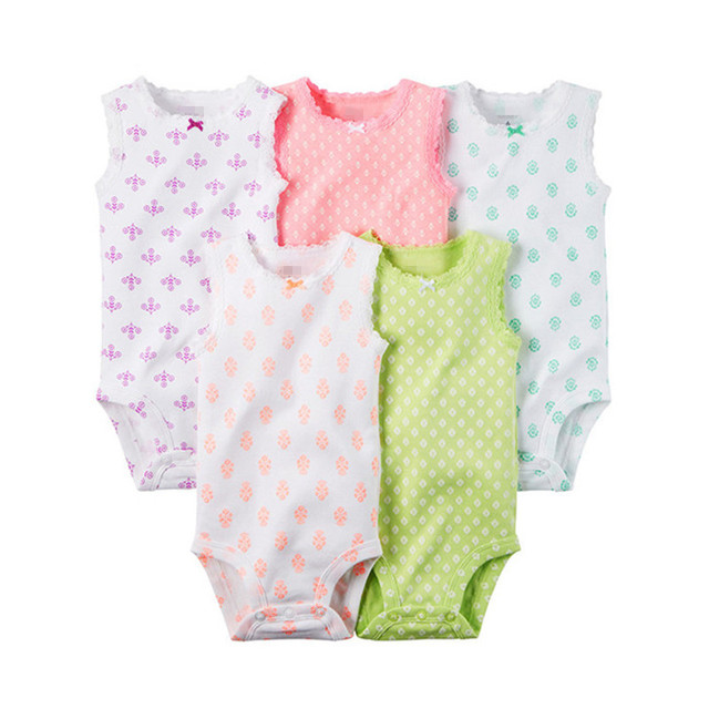 3 or 5pcs/lot Summer Sleevesleeve Toddler's Cotton Bodysuits Baby Boy and Girl Suit Baby Outwear Newborn Baby Clothes