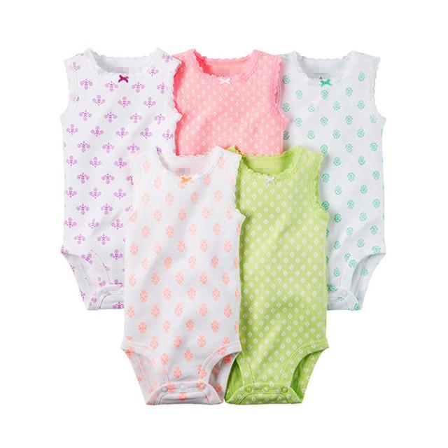 3 ou 5 pçs/lote Sleevesleeve Verão Bodysuits Do Bebê Menino e Menina Terno Do Bebê da criança do Algodão Outwear a Roupa Do Bebê Recém-nascido