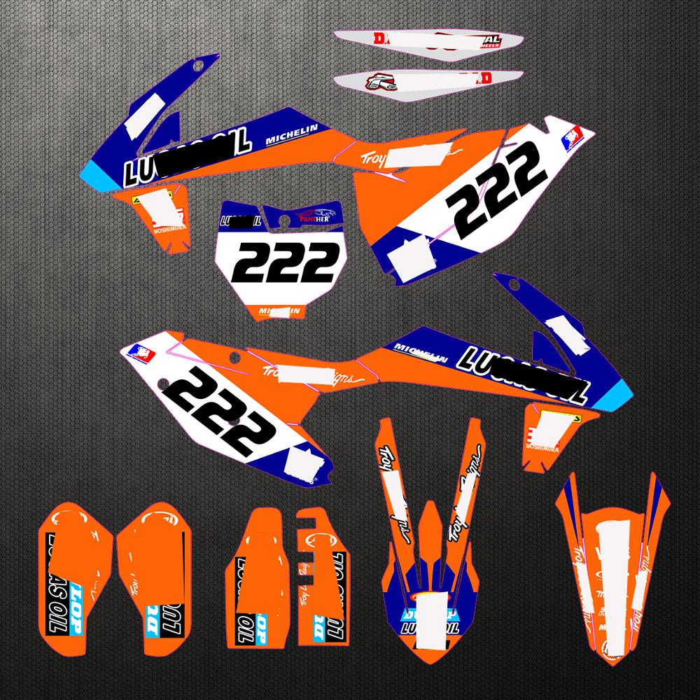 Motorcycle For KTM EXC 2017 - 2019 SXF SX-F 2016 - 2018 PVC Translucent Film Full Stickers DIY Customizable Number Decals