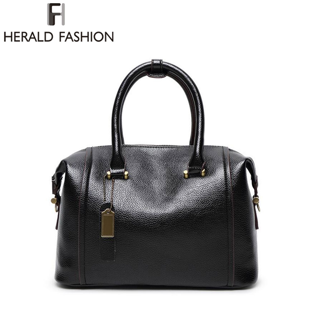Boston Handbags Women Shoulder Bags Large Capacity Tote Sac Femme Sequined Black PU Leather Top-handle Bag Herald Fashion