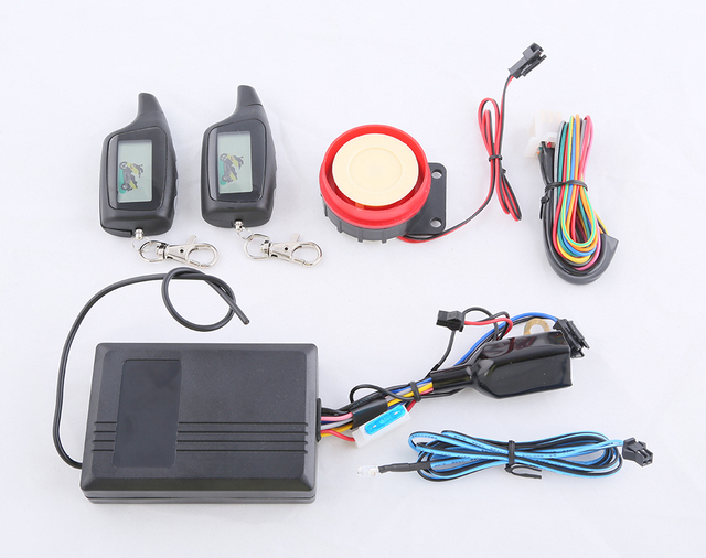 LCD instruction motorcycle two way alarm system shocking arm, remote arm disarm and remote engine start, cut off power memory