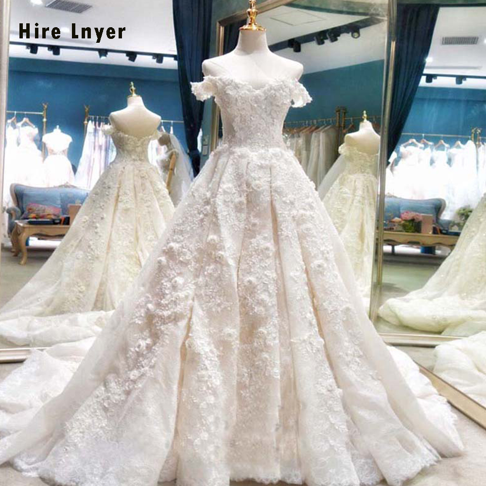 HIRE LNYER Sweetheart Short Sleeve Beading Pearls Lace Appliques Flowers Wedding Dresses Elegant Plus Size Vestido