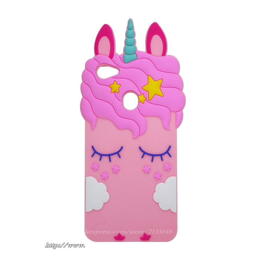 3D Silicon Shy Unicorn Cartoon Phone Cfor Fundas Oppo F7 Case For Oppo F7 Case Fashion Soft Phone Back Case Cover