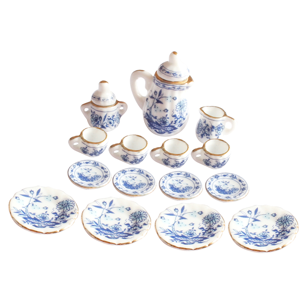 Hot 15 Pcs 1/12 Dollhouse Miniature Dining Ware Porcelain Tea Set Blue Flower Dolls House Kitchen Toys for Kid Gift Pretend Toy