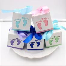 50pc Δωρεάν αποστολή Laser Κόψτε τα μωρά πόδια μωρό καραμέλα ντους Favor Κουτί κουτί γενεθλίων Party Candy Box Γλυκό Γάμος διακόσμηση καραμέλα