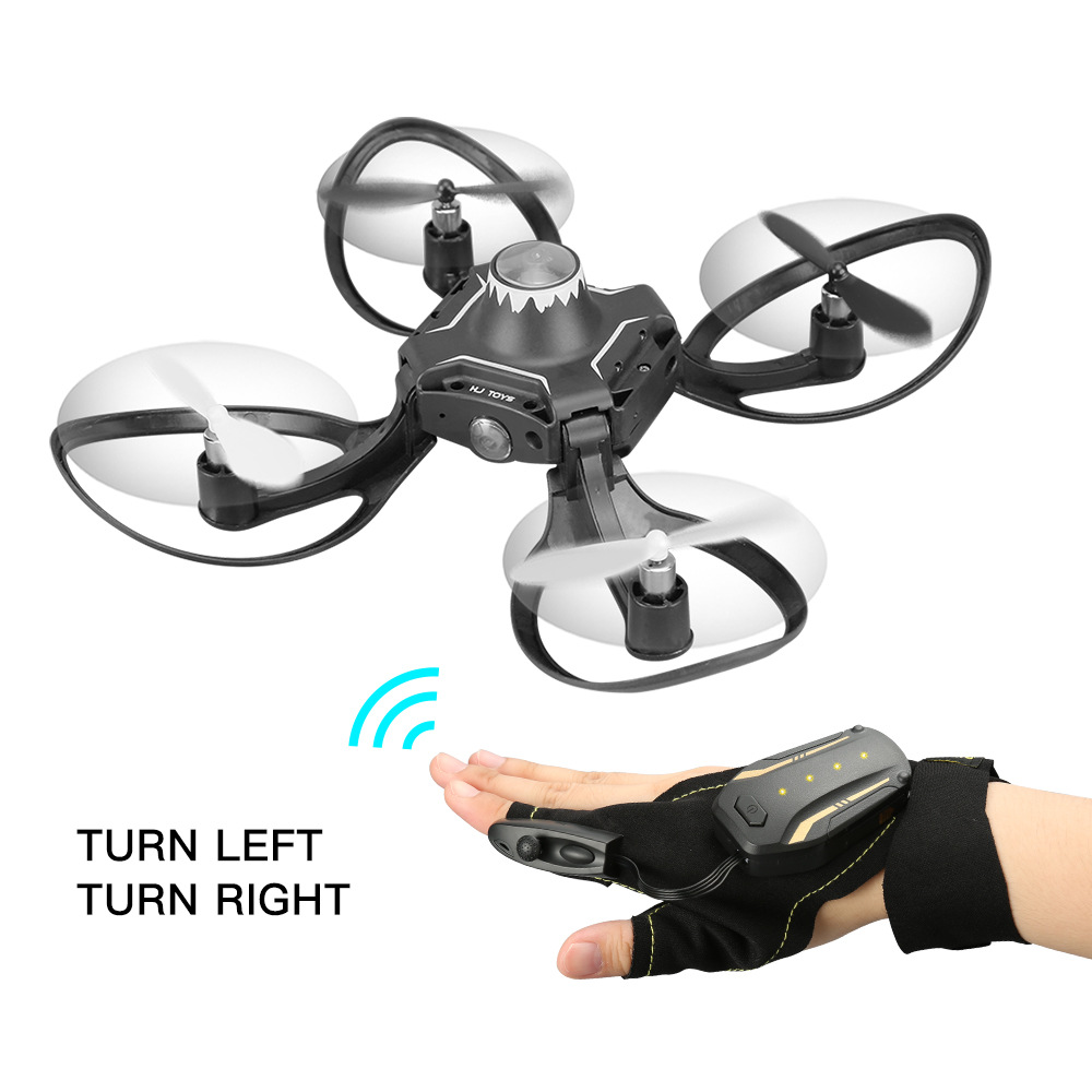 2.4g Mini Drone Foldable Arm Glove Gesture Sensing Control Helicopter RC Aircraft One Key Return Gesture Roll Drone For Beginner